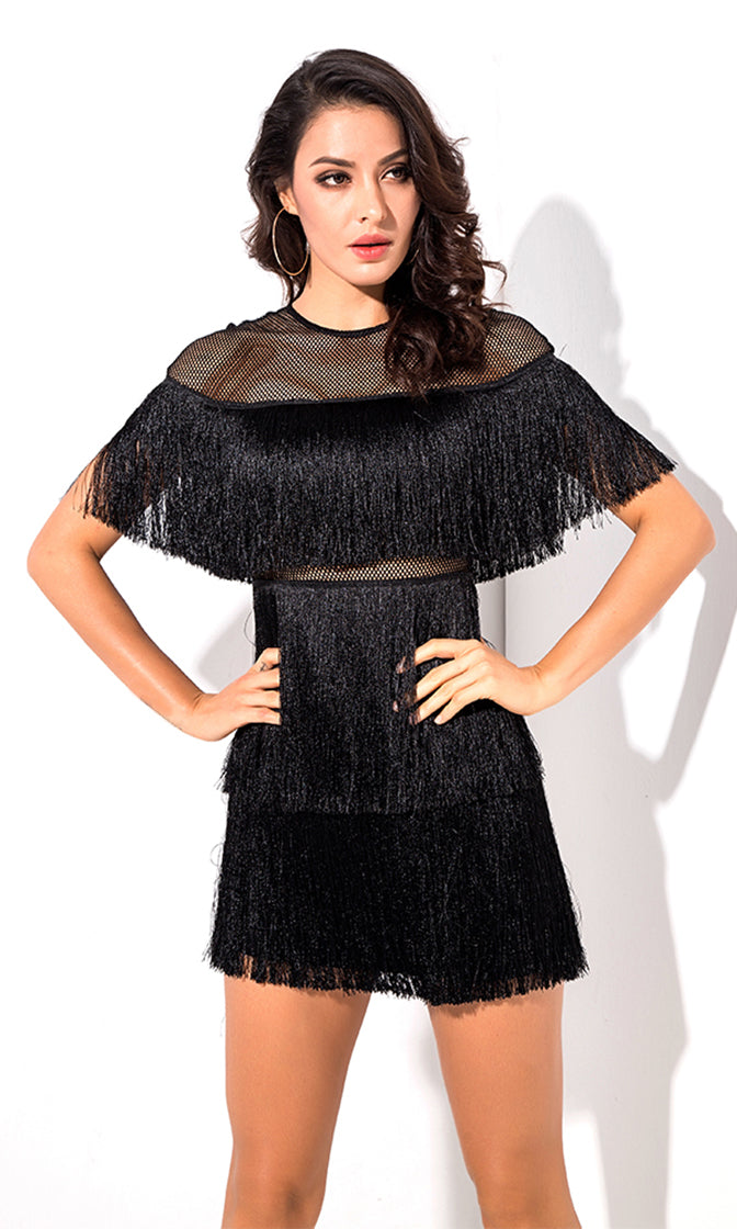 Best Romance Black Fringe Sheer Mesh Short Sleeve Crew Neck Mini Dress