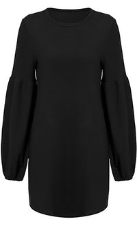 Mod Mystique Long Lantern Sleeve Round Neck Sweater Knit Casual Mini Dress - 4 Colors Available - Sold Out
