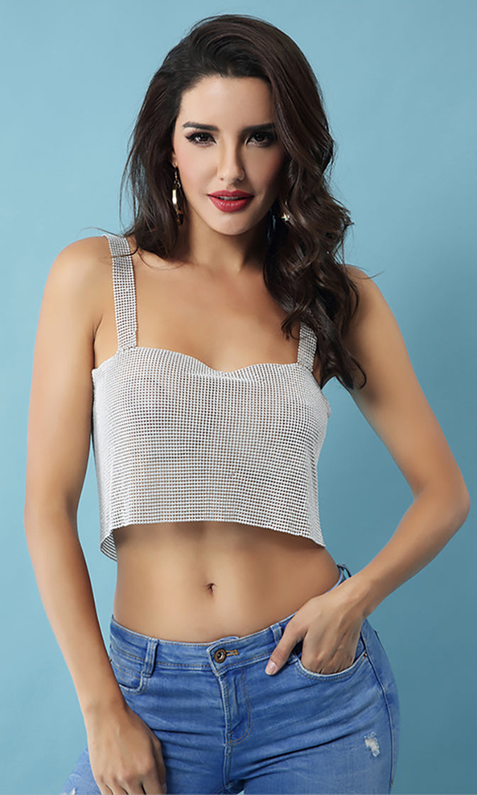 Play Time Silver Metallic Mesh Sleeveless Backless Chain Strap Crop Tank Top - Sold Out