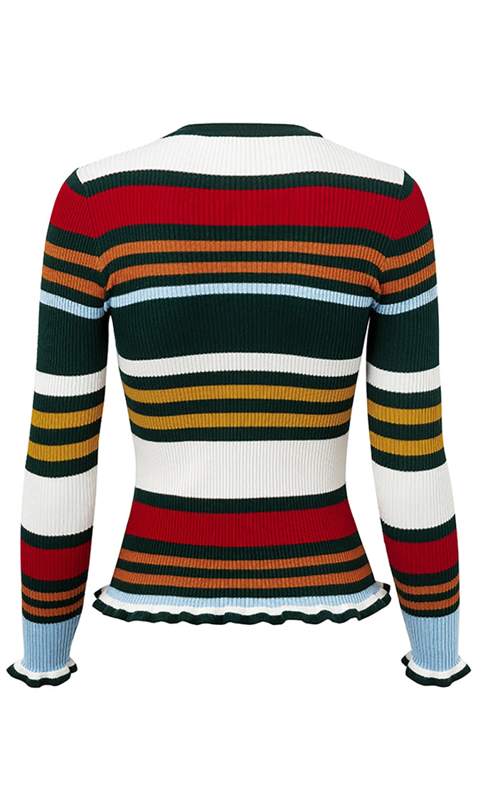 Coffee Shop Orange Stripe Pattern Long Sleeve Ribbed Ruffle Trim Crew Neck Pullover Sweater