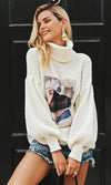 What A Character Long Lantern Sleeve Chunky Pattern Turtleneck Face Print Pullover Sweater - 5 Colors Available