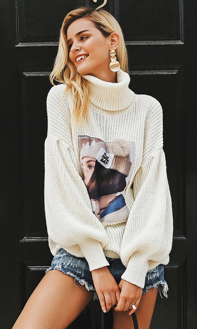 What A Character Long Lantern Sleeve Chunky Pattern Turtleneck Face Print Pullover Sweater - 5 Colors Available - Sold Out