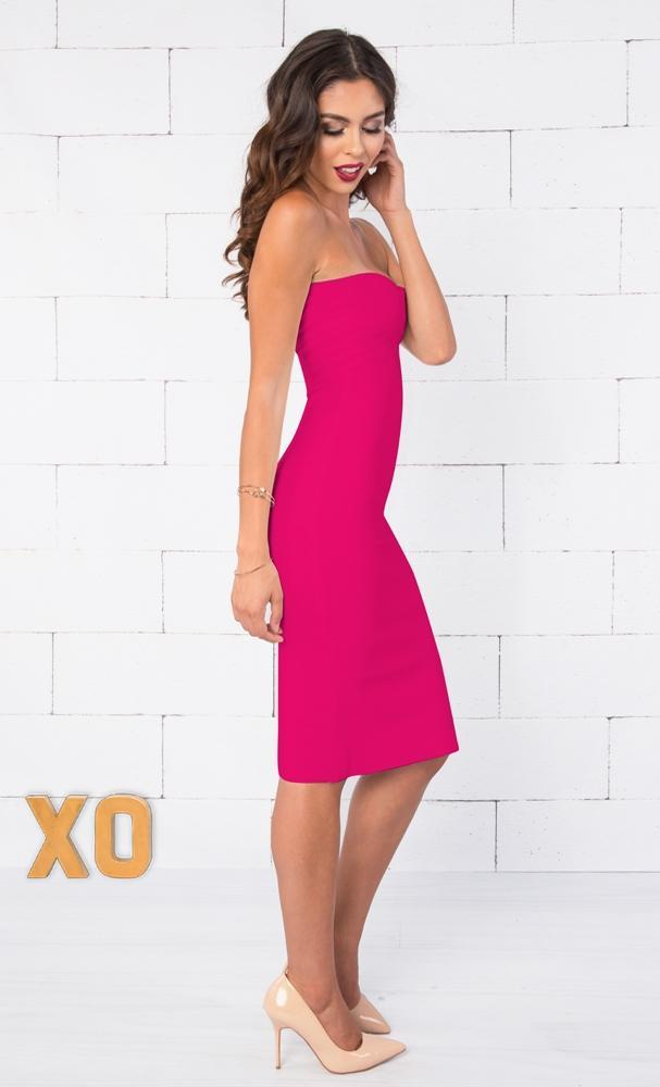 Indie XO Allison Fuchsia Pink Strapless Ribbed Texture Sweetheart Neck Bandage Bodycon Knee Length Midi Dress - Just Ours! - Sold Out