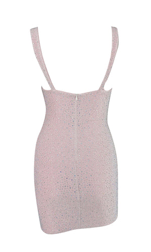 It's Happening Silver Rhinestone Sleeveless Bustier V Neck Bodycon Mini Dress