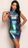 Time And Space Blue Green Purple Iridescent Metallic Sleeveless Mock Neck Cut Out Bodycon Mini Dress - Sold Out