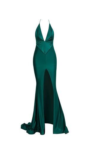 Playing Our Song Emerald Green Sleeveless Spaghetti Strap Halter Backless Plunge V Neck Ruched Front Slit Mermaid Maxi Dress