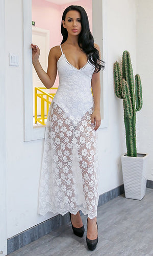 Always Your Girl White Sheer Mesh Lace Sleeveless Spaghetti Strap V Neck Casual Maxi Dress - Sold Out