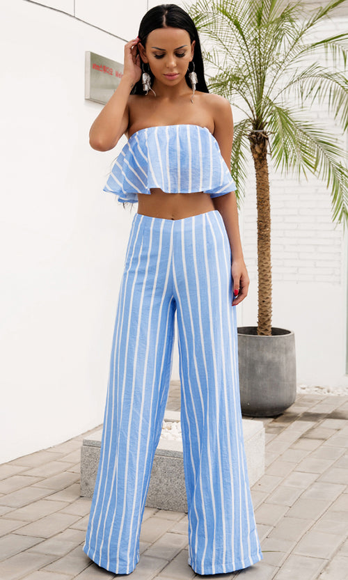 Holiday In Florence Light Blue Vertical Stripe Pattern Strapless Ruffle Crop Top Loose Wide Leg Pants Two Piece Jumpsuit Set