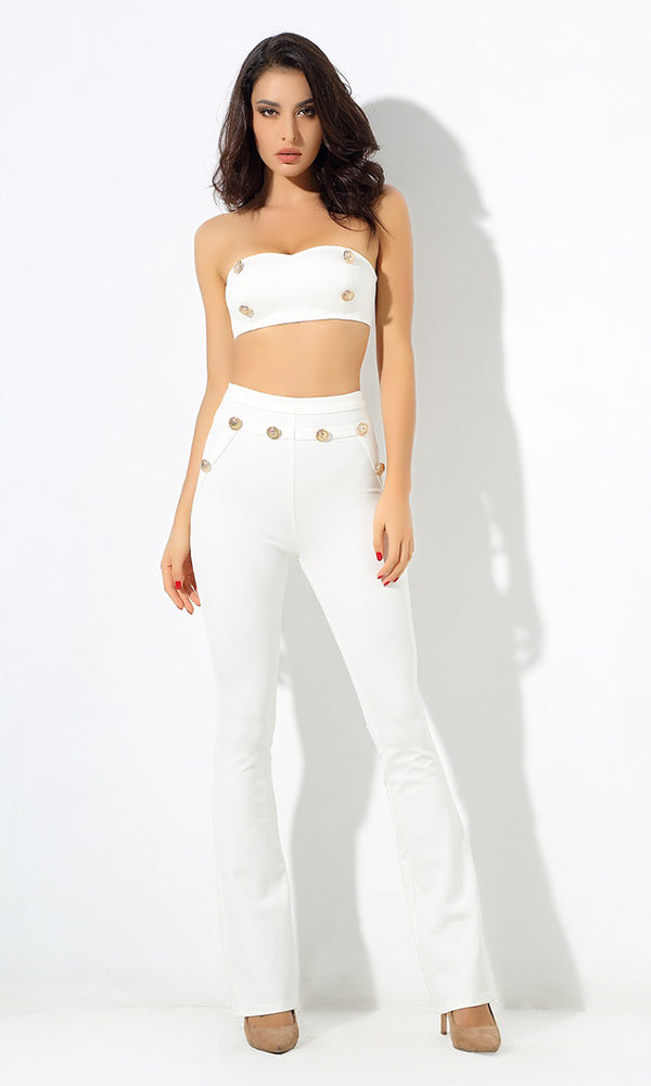 Sail Away White Gold Button Strapless Bandeau Crop Top Bootcut Two Piece Jumpsuit