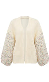 Cozy Kisses White Fleck Long Lantern Sleeve V Neck Open Front Chunky Cardigan Sweater - Sold Out