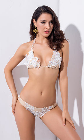 Indie XO Such A Doll White Lace Nude Gold Rhinestone Crystal Beaded Spaghetti Strap Halter Triangle Cut Out Top Two Piece Brazilian Swimsuit Set