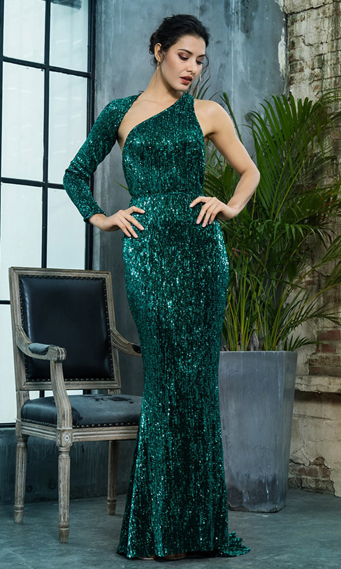Hollywood Moment Green Sequin One Shoulder One Long Sleeve Backless Mermaid Maxi Dress