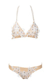 Montauk Moment Apricot Lace Applique Rhinestone Pearl Strap Triangle Top Two Piece Bikini Swimsuit - Sold Out