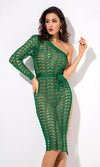 Final Countdown Green Sheer Crochet Lace Long Sleeve One Shoulder High Slit Bodycon Midi Dress