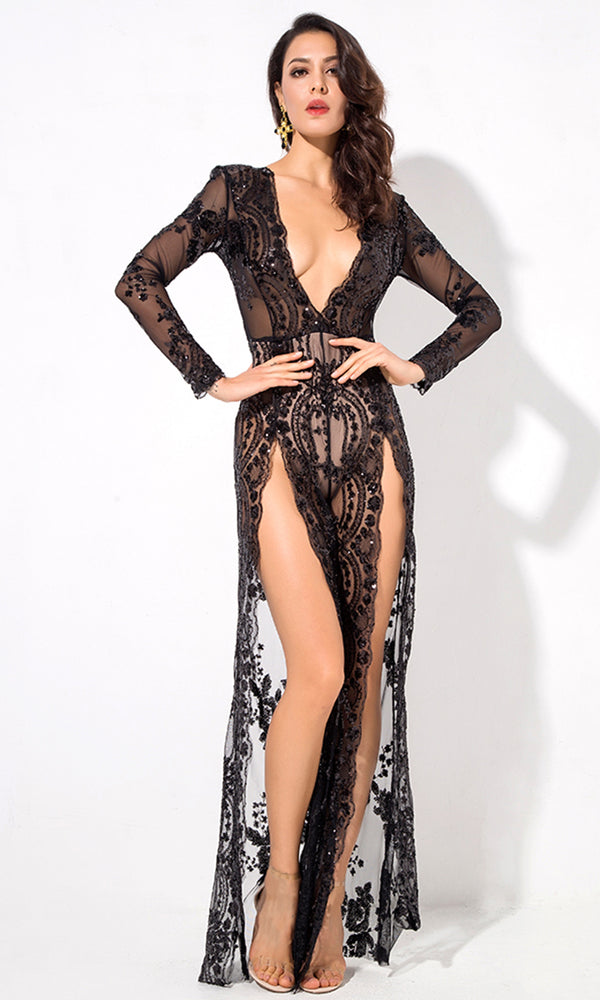 Ready To Conquer Black Sheer Mesh Sequin Floral Pattern Long Sleeve Plunge V Neck Double Split Front Jumpsuit