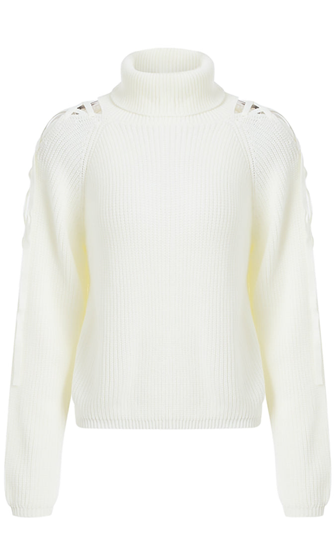 Snow Bird White Long Sleeve Cut Out Cold Pattern Shoulder Turtleneck Pullover Sweater