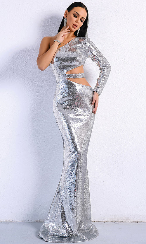 Wild Ways Silver Sequin One Shoulder Long Sleeve Cut Out Side Maxi Dress Evening Gown