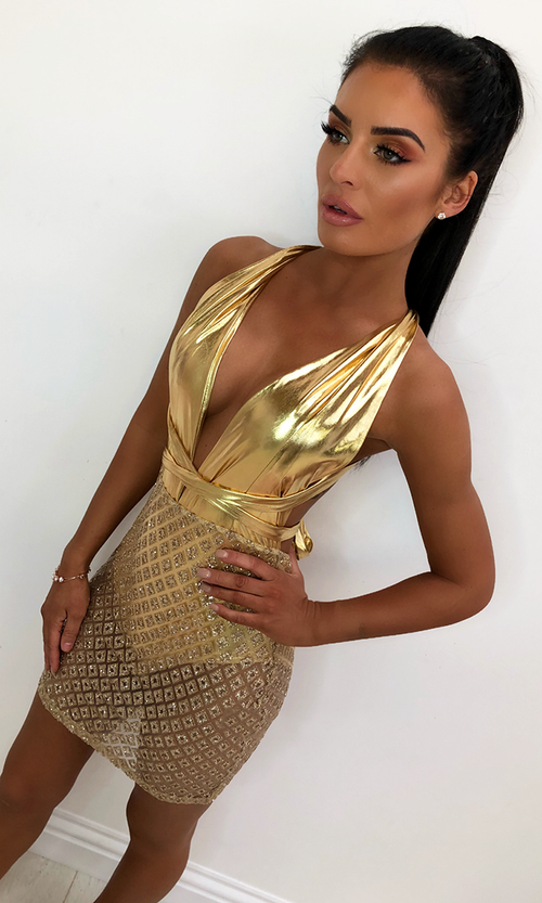 No Vacancy Gold Diamond Geometric Pattern Sleeveless Sheer Sequin Plunge V Neck Bodycon Mini Dress