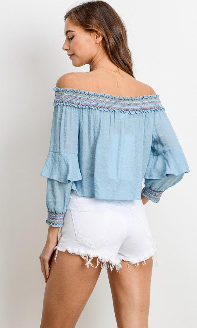 Sweet Like Me Long Sleeve Ruffle Off The Shoulder Contrast Stitching Top - 2 Colors Avaialble - Sold Out