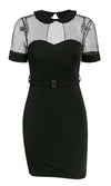 Show Down Black White Dot Pattern Sheer Mesh Short Sleeve Round Collar Keyhole Back Belted Bodycon Mini Dress