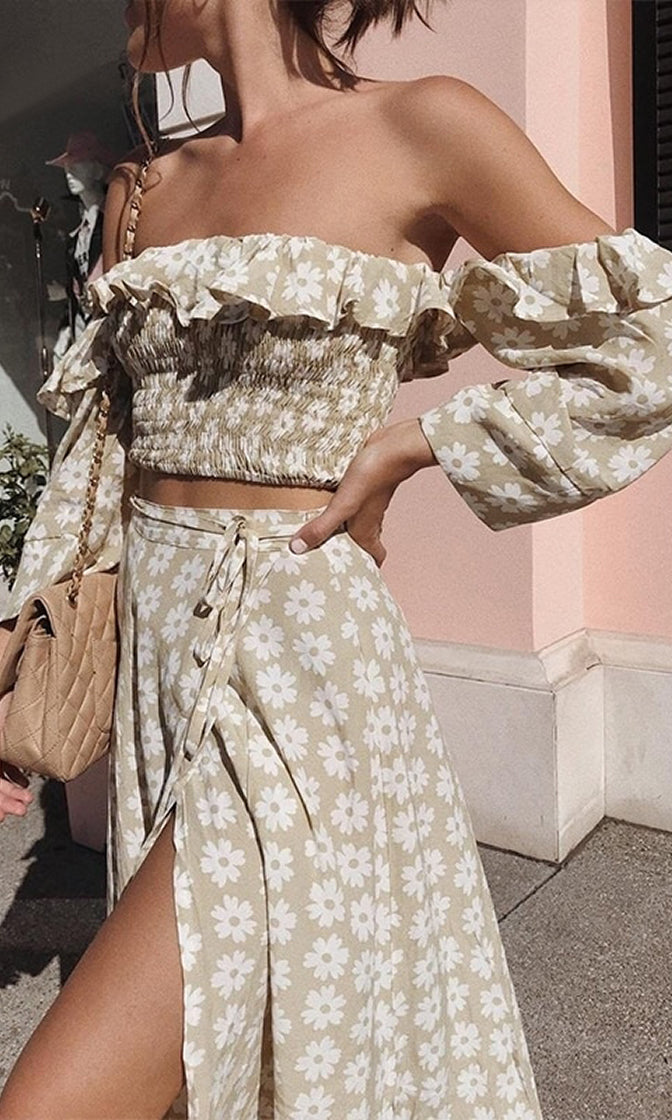 Get The Scoop Light Brown White Floral Pattern Long Sleeve Ruffle Off The Shoulder Smocked Crop Top Wrap Split Maxi Skirt Casual Two Piece Dress