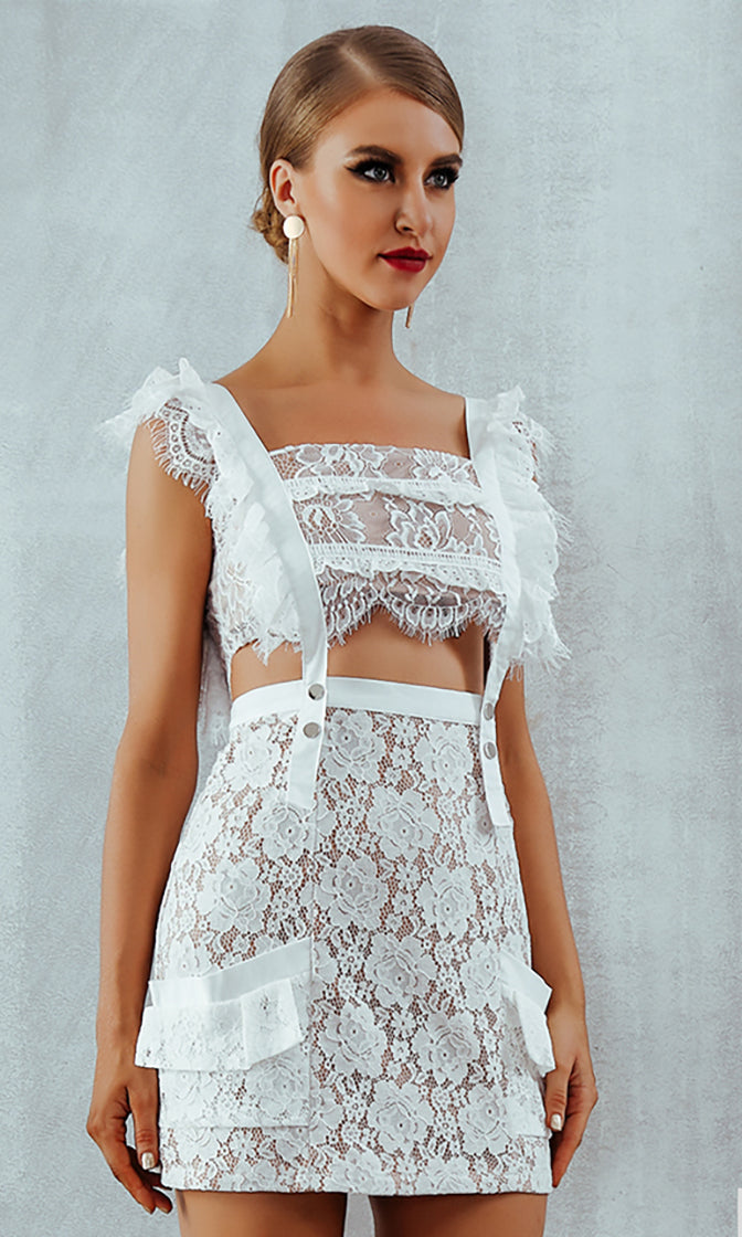 Loving You Is Easy White Lace Cap Sleeve Square Neck Cut Out Waist Ruffle Two Piece Bodycon Mini Dress