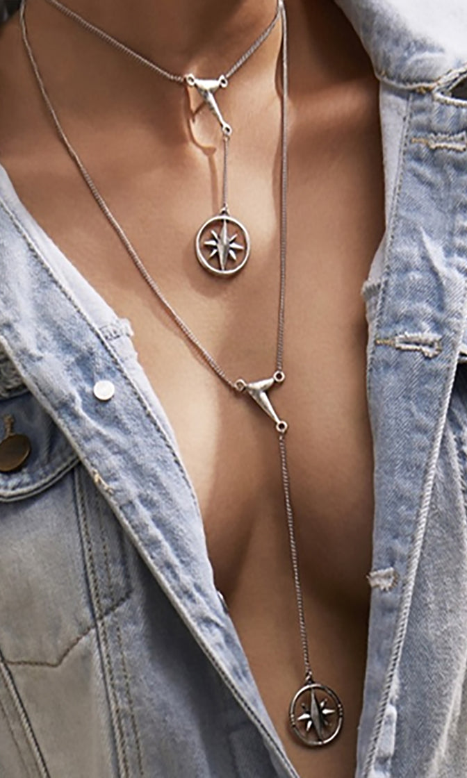 Sun Queen Metal Chain Double Charm Y Pendant Necklace - 2 Colors Available - Sold Out