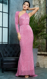 Hollywood Moment Pink Sequin One Shoulder One Long Sleeve Backless Mermaid Maxi Dress - Sold Out