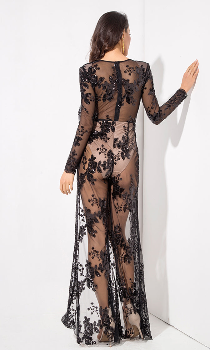Ready To Conquer Black Sheer Mesh Sequin Floral Pattern Long Sleeve Plunge V Neck Split Front Jumpsuit