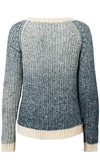 Dip Low Grey White Ombre Gradient Long Sleeve Lace Up Scoop Neck Pullover Sweater