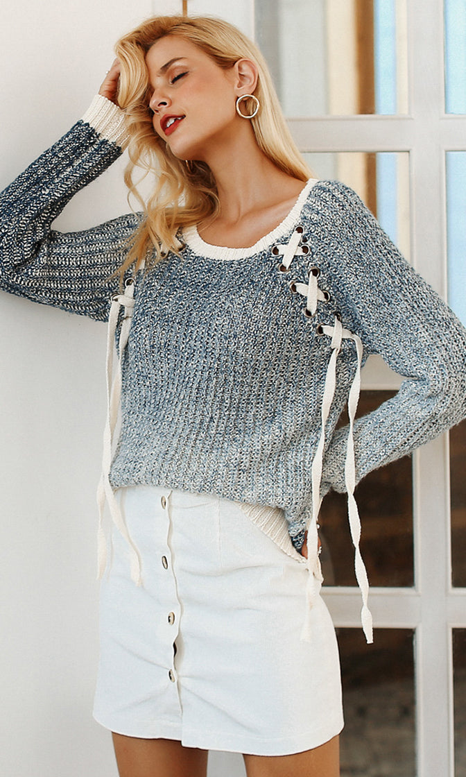 Dip Low Grey White Ombre Gradient Long Sleeve Lace Up Pattern Scoop Neck Pullover Sweater