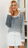Dip Low Grey White Ombre Gradient Long Sleeve Lace Up Pattern Scoop Neck Pullover Sweater - Sold Out