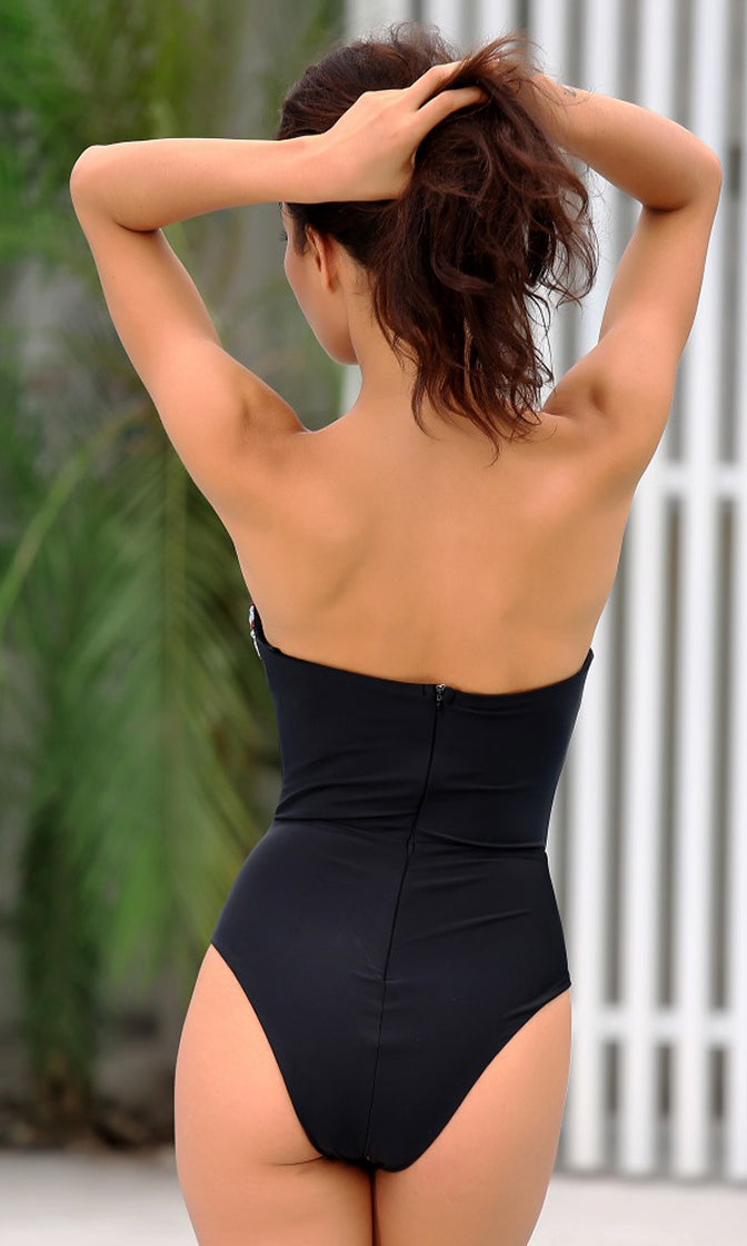 Rise To The Top Black Strapless Gemstone Plunge V Neck One Piece Swimsuit
