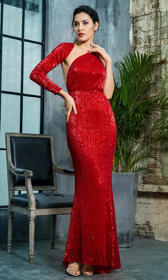 Hollywood Moment Red Sequin One Shoulder One Long Sleeve Backless Mermaid Maxi Dress