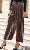 High Society Velvet High Waist Paperbag Belted Wide Leg Loose Trousers Pants - 3 Colors Available - Sold Out