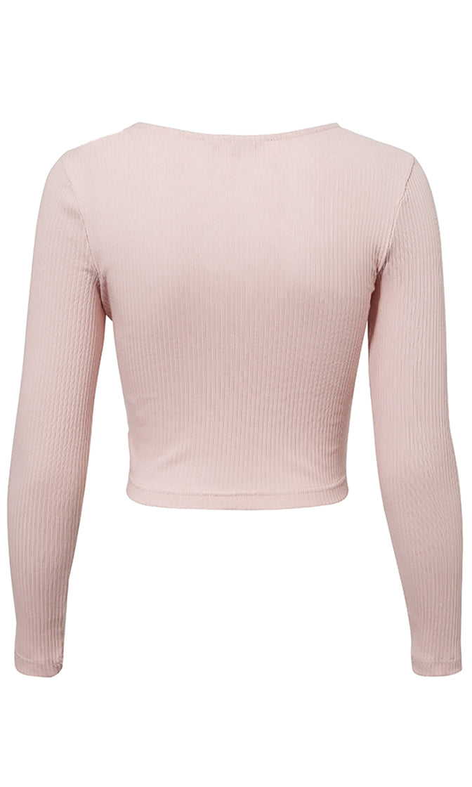Demanding Respect Long Sleeve Ribbed V Neck Ruched Pullover Sweater Casual Knit Top - 3 Colors Available