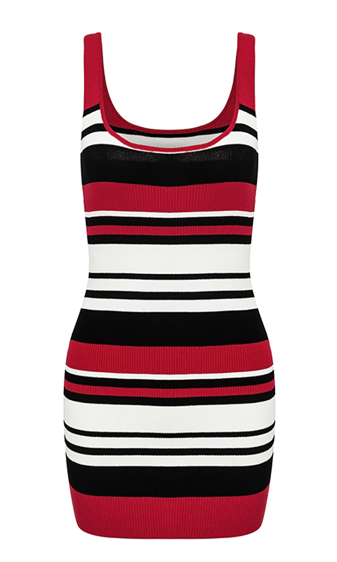 Earn My Love Red Black White Horizontal Stripe Pattern Sleeveless Scoop Neck Ribbed Bodycon Casual Mini Dress