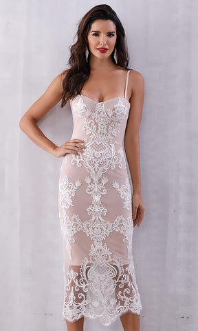 Last Heartache White Sheer Mesh Lace Sleeveless Halter Crop Pencil Bodycon Two Piece Organza Midi Dress