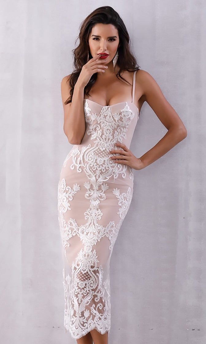 Pure Allure White Beige Sheer Mesh Lace Sleeveless Bustier Spaghetti Strap V Neck Bodycon Midi Dress