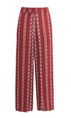 Even Split Red Vertical Stripe Pattern Wide Leg Loose Double Slit Trouser Pants - Sold Out