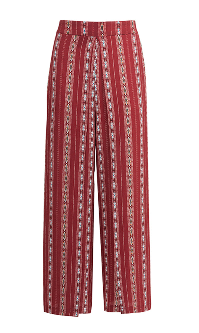 Even Split Red Vertical Stripe Pattern Wide Leg Loose Double Slit Trouser Pants