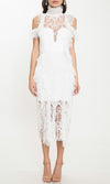 Laced With Love White Sheer Mesh Lace Short Sleeve Cold Shoulder Mock Neck Ruffle Midi Dress - Sold Out