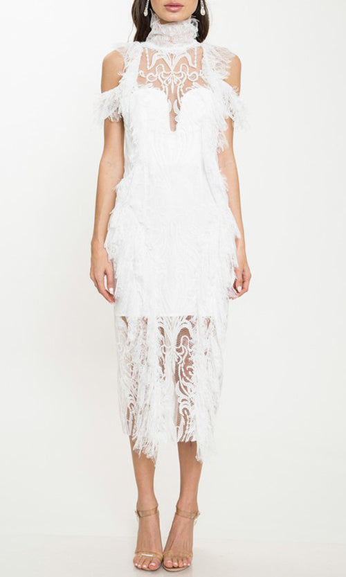 Laced With Love White Sheer Mesh Lace Short Sleeve Cold Shoulder Mock Neck Ruffle Midi Dress