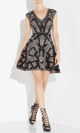 Just Your Type Black Grey Geometric Jacquard Short Sleeve V Neck Skater Circle A Line Flare Mini Bandage Dress - Sold Out