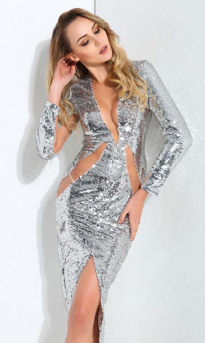 Bottle Service Silver Sequin Sheer Mesh Long Sleeve Plunge V Front Slit Bodycon Midi Dress