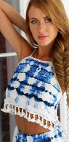 Wisteria Lane Blue White Tie Dye Sleeveless Open Back Halter Fringe Tassel Trim Crop Top Shorts Two Piece Romper - Sold Out