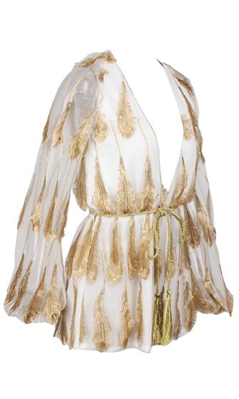 Gold Standard White Metallic Gold Feather Long Bell Sleeve Plunge V Neck Tie Waist Romper Playsuit