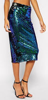 Modern Mermaid Blue Sequin Midi Skirt - Sold Out