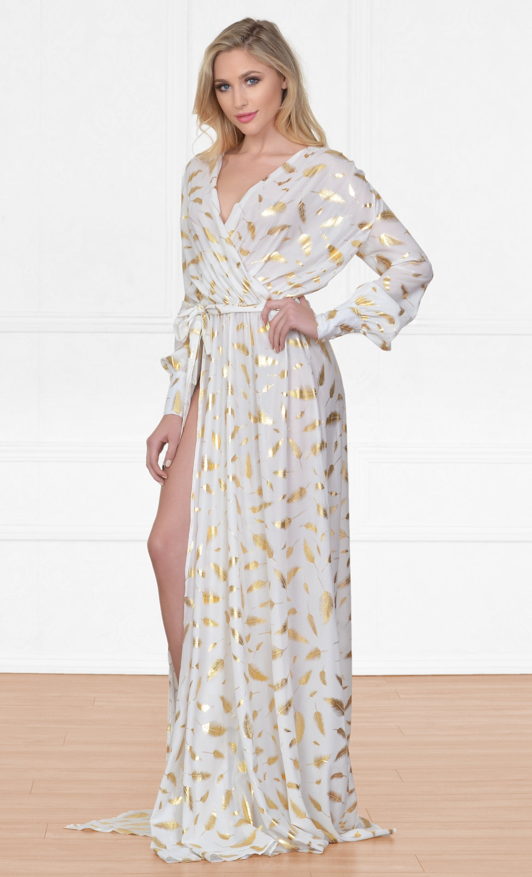 Indie XO Fairytale Fantasy White Gold Feather Long Sleeve Plunge V Neck High Slit Maxi Dress