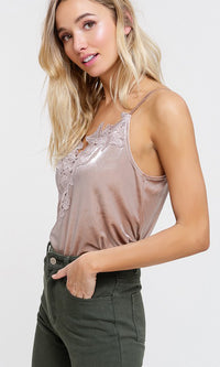 Don't Forget Me Velvet Sleeveless Spaghetti Strap V Neck Lace Trim Camisole Tank Top - 5 Colors Available - Sold Out